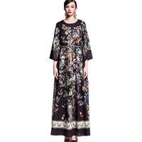 Européenne de Femmes Top Mode D'été Flare Manches Animal Flower Imprimé Maxi Longue Robe Vintage Plus La Taille XXXL Rétro Robes