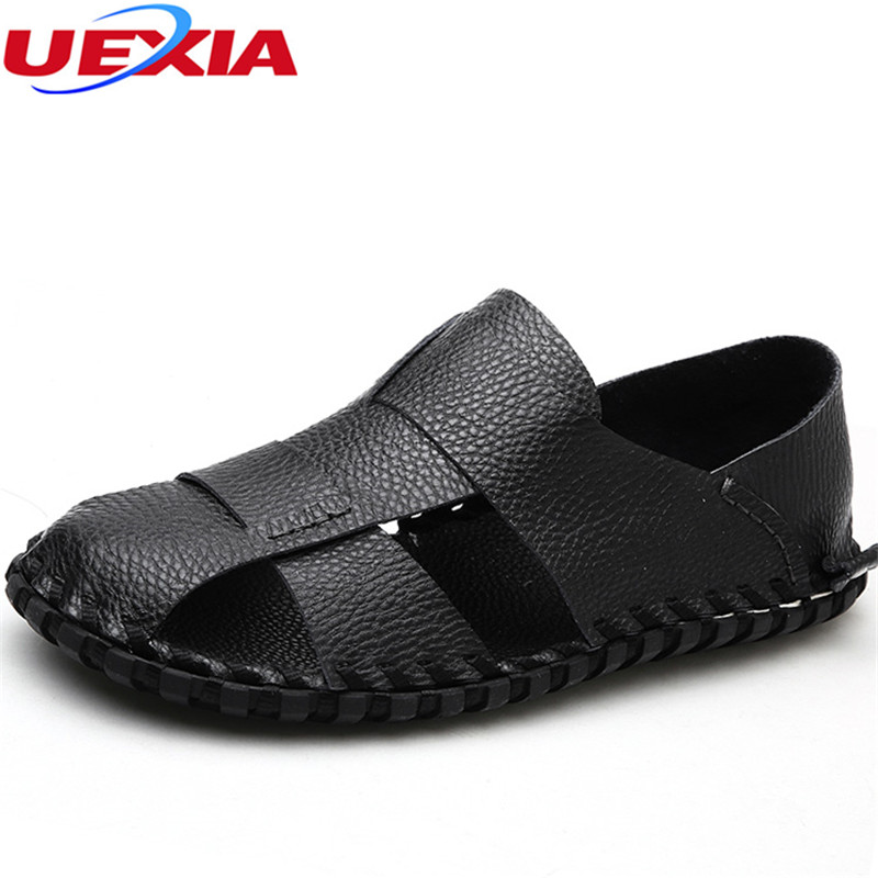 UEXIA 2018 Handmade Summer Outdoor Leather Quality Casual Male Sandals For Men Shoes Walking Beach Comfortable Designer Sandal