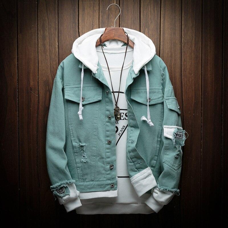 Automne nouvelle veste en Denim à capuche hommes mode faux deux pièces de Streetwear Bomber veste et manteau homme Cowboy vêtements mâle M-3XL