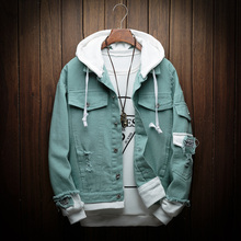 Autumn New Hooded Denim Jacket Men Fashion Fake Two Pieces Of Streetwear Bomber Jacket and Coat Man Cowboy Clothes Male M-3XL недорого