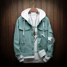 Новая Осенняя джинсовая куртка с капюшоном Для мужчин Мода поддельные Двойка Streetwear Курточка бомбер и пальто человек ковбойская Одежда Мужской M-3XL