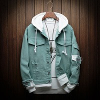 Autumn New Hooded Denim Jacket Men Fashion Fake Two Pieces Of Streetwear Bomber Jacket and Coat Man Cowboy Clothes Male M 3XL