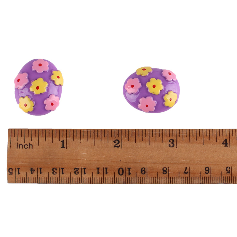 50pcs Purple Easter Eggs Colourful Flowers Resin Scrapbooking Hair Bow Clip Center Crafts Embellishment Charms Cabachons