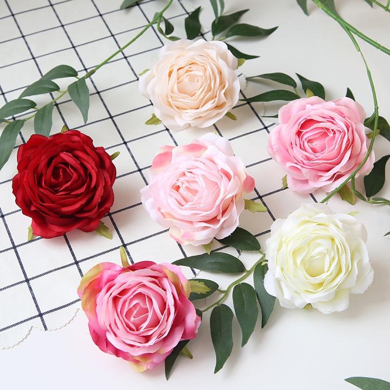 9cm Artificial Rose Blossom Bouquet Silk Flowers Heads Floral Wedding DIY Decor
