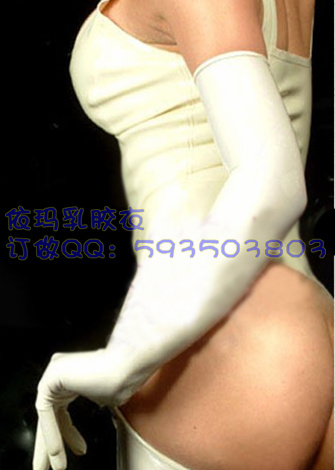 Latex gloves long latex women's white cosplay Tailored, color options - kingdom store