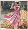 High-end Brand Women 's Dress 2016 Autumn New Design Peter Pan Collar Bowknot Long Sleeves Slim Elegant Large Swing Retro Dress