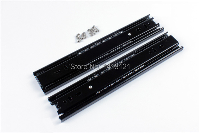 free shipping 25cm muted slides furniture hardware rail computer desk slide Keyboard drawer track ball lifting bottom bracket section three track rail drawer slide rails 3 row ball bearing linear guides thicker