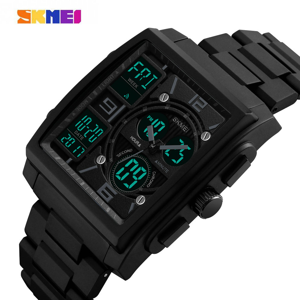 SKMEI Top Brand Luxury Digital Watch Men Stainless Steel Strap Dual Dial 3 Time Zone Alarm Calendar Chronograph Wrist Watches bewell multifunctional wooden watches men dual time zone digital wristwatch led rectangle dial alarm clock with watch box 021a