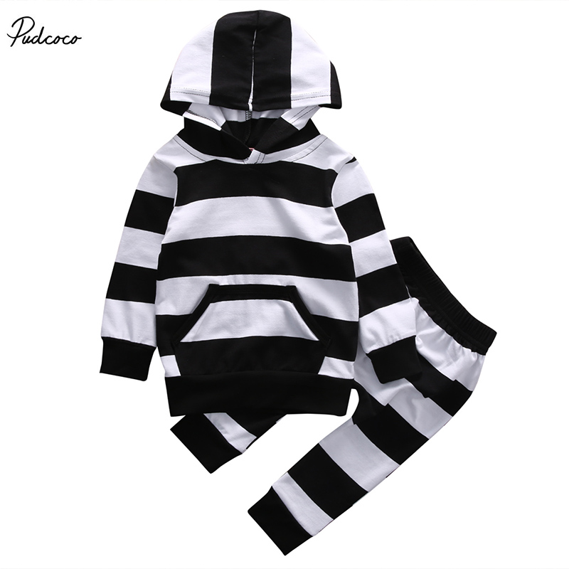 2 Pcs Baby Boy Girl Zebra Striped Hooded Clothing Set Infant Babies Kids Pocket Hoodie Tops+Pants 2pcs Outfits Clothes Sets  150g 6 years of american ginseng china changbai mountain root slices