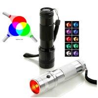 レインボーrgb懐中電灯色シャインled変える色光3ワットアルミニウム合金エジソン多色虹10色照明トーチ
