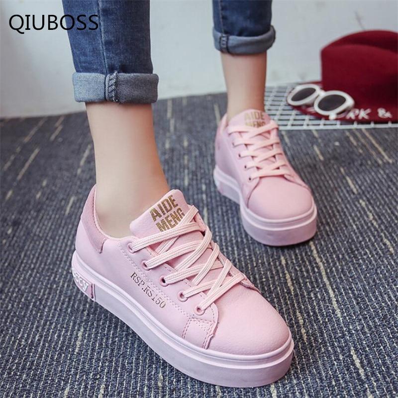 QIUBOSS Fashion Women Shoes Women Casual Shoes Comfortable Women Vulcanize Soles Platform Shoes For All Season Hot Selling Q211