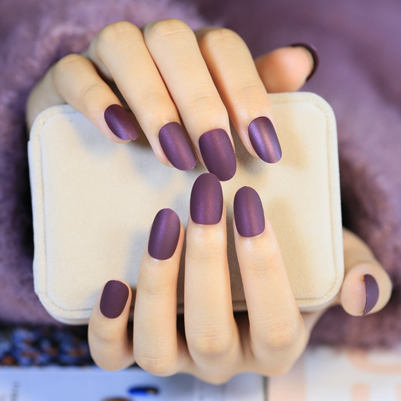 Velvet Matte False Nails Nice Shape Wine Purple Lady Fake Nail Tips ...