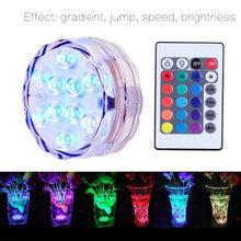 Underwater Submersible Vase 10 Led Remote Controll RGB Candle Light Battery Operated Night Lamp Outdoor Party Pool Decoration(China)