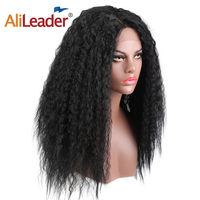 AliLeader 24'' Jet Black/brown Lace Front Wig Long Kinky Straight Hair Wig Heat Resistant Natural Fake Hair With Middle Part
