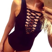 Playsuit Sexy Front Lace Up Bodysuit Summer V Neck Black Sleeveless Rompers Women Jumpsuit Overalls Bodycon Jumpsuit Mono 2016