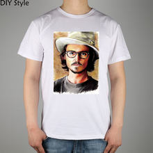 T-shirt de film Johnny Depp T-shirt en coton Lycra pour hommes(China)