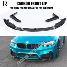 цены F80 M3 F82 F83 M4 Carbon Fiber Front Lip for BMW F80 M3 F82 F83 M4 Bumper 2012 - 2016 Auto Racing Car Styling Front Lip Spoiler