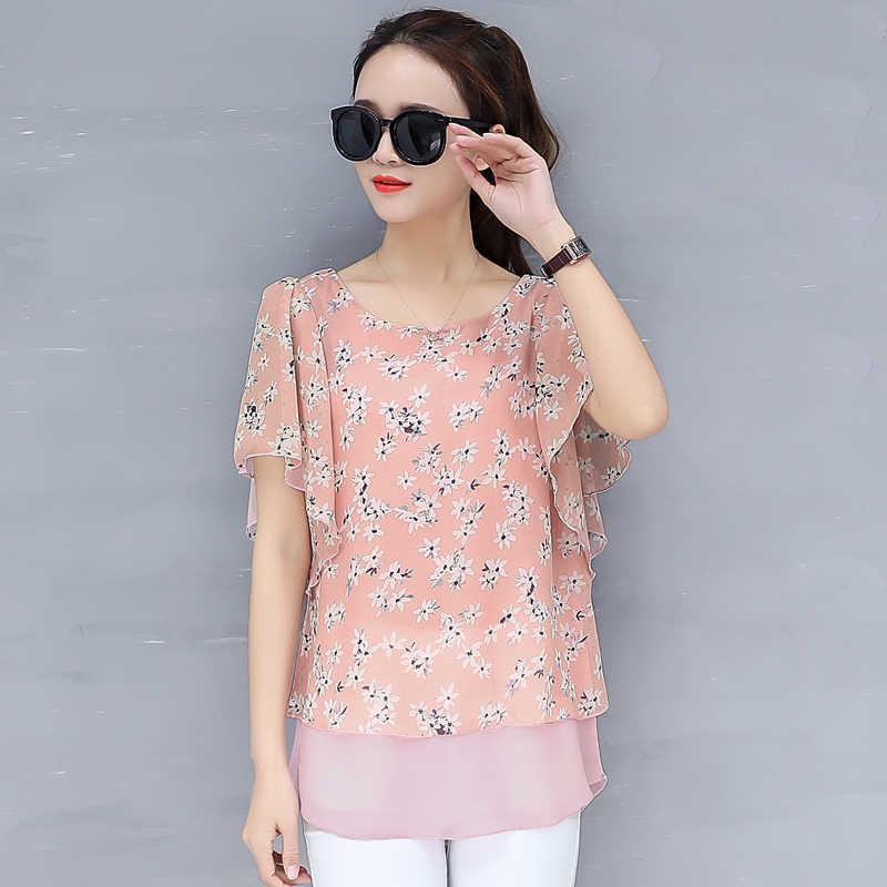 2019 Летняя блузка Новый корейский топ Для женщин печати шифон рубашки плюс Размеры 4XLO-Neck рукав «летучая мышь» Camisa Blusa Feminina женская одежда