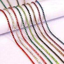 1 ساحة 17 ألوان SS6 SS12(2 مللي متر 3 مللي متر) الفضة قاعدة Densify خياطة على الراين سلسلة ل حجر الراين مع مخلب Clothing بها بنفسك الملابس