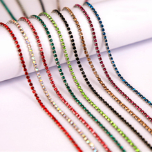 1 yard 17 Colors SS6 SS12(2mm 3mm) Silver Base Densify Sew On Rhinestones Chain for Rhinestone With Claw Diy Clothing
