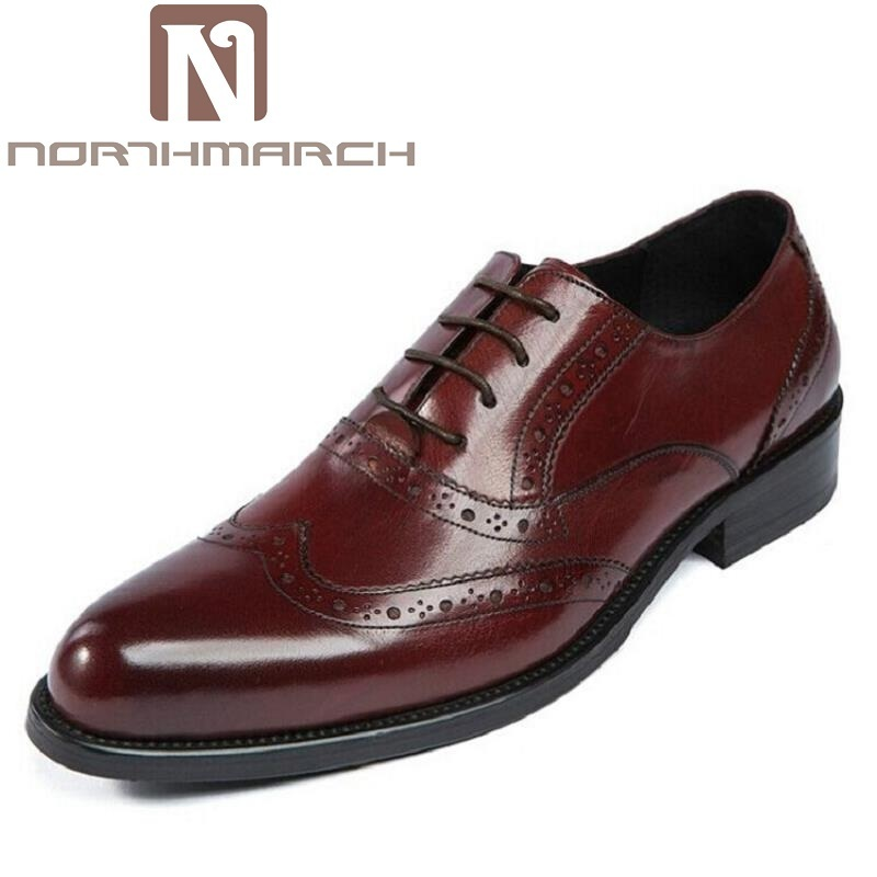 NORTHMARCH Men's Formal Oxford Dress Shoe Elegant Pointed Toe Design Men Shoes Luxury Leather Office Wedding Derby sapatenis british fashion men business office formal dress breathable genuine leather shoes lace up oxford shoe pointed toe teenage sapato