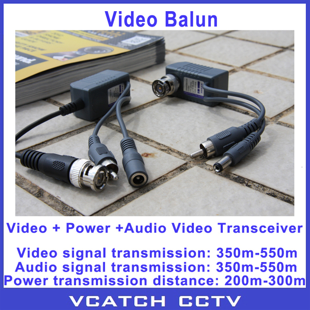 Vcatch 5 Pairs/lot BNC Coax CCTV Active Video Balun With Audio Power Transceiver Cable