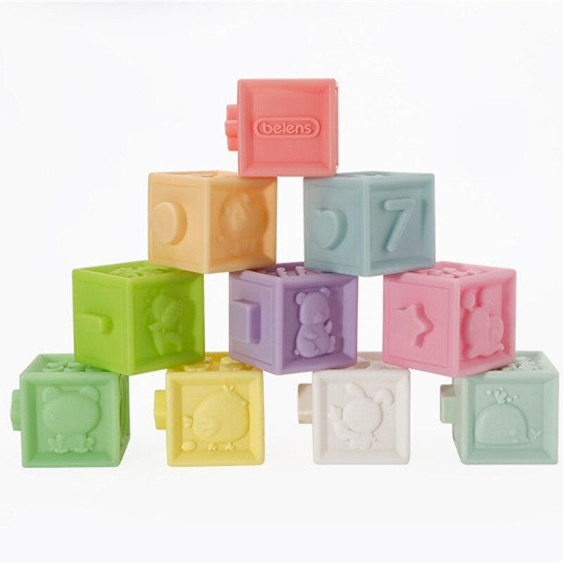 Silicone bébé confort hochets Mobiles 3D Silicone blocs de construction jouets éducatifs précoces blocs de construction en caoutchouc musical