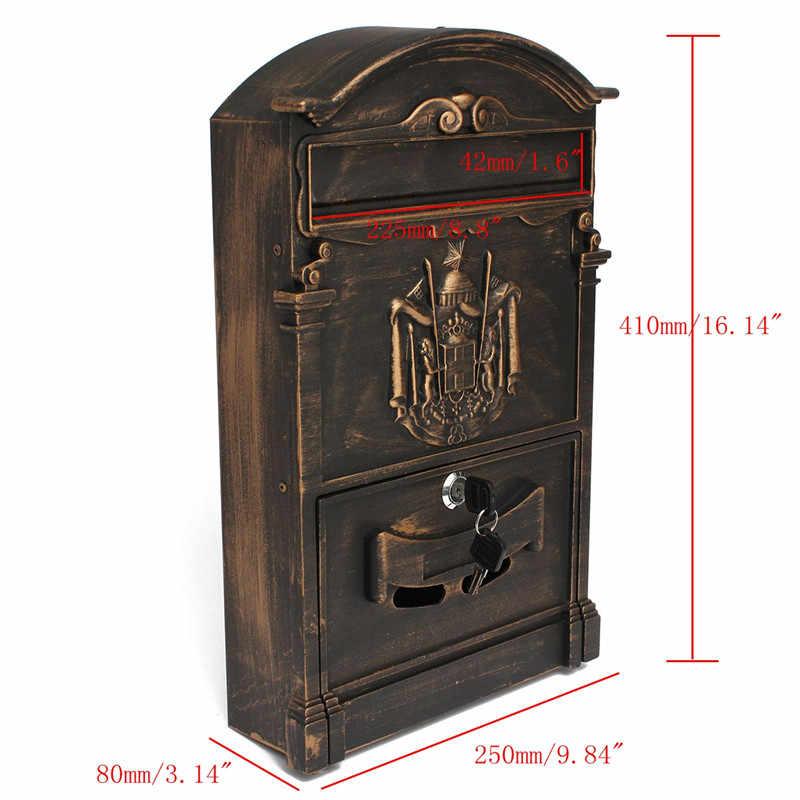 Европейские виллы почтовый ящик ретро почтовый ящик с замком наружные настенные газетные коробки безопасный почтовый ящик садовое украшение для дома 41x25x8 см