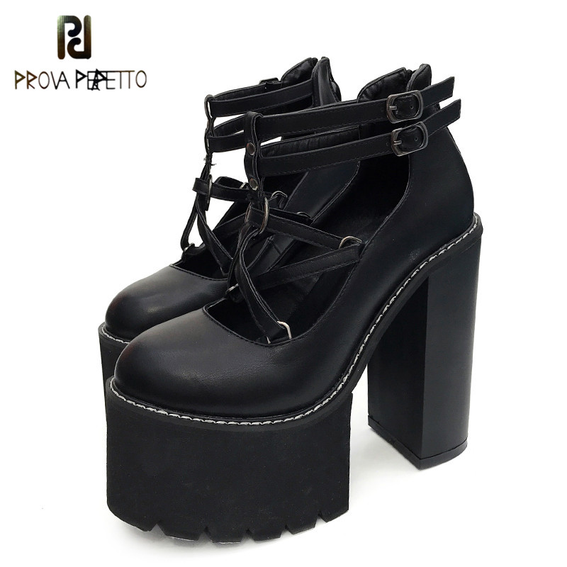 Prova perfetto 2019 Fashion Women Pumps High Heels Zipper Rubber Sole Black Platform Shoes Spring Autumn