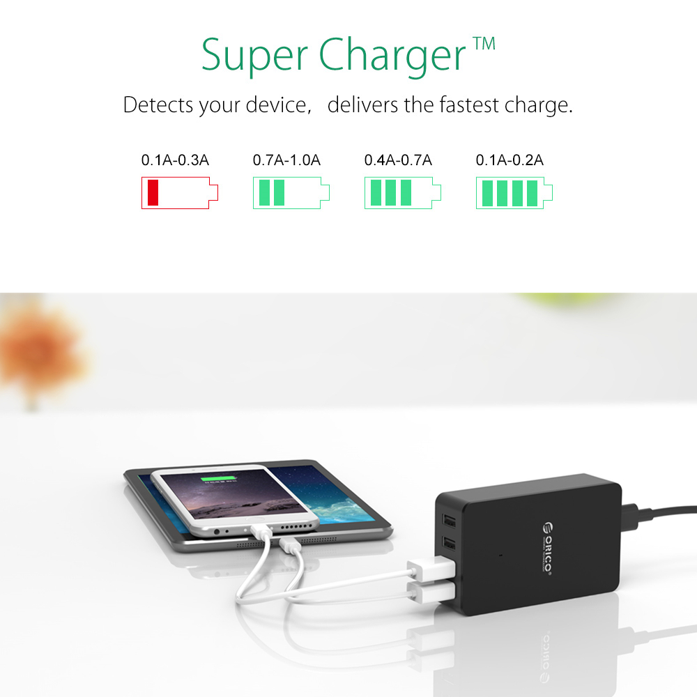 ORICO CSE-4U 5V2.4A USB Travel Charger 4 Ports USB Fast Charger Adapter Portable Wall Charger For Pad Phone
