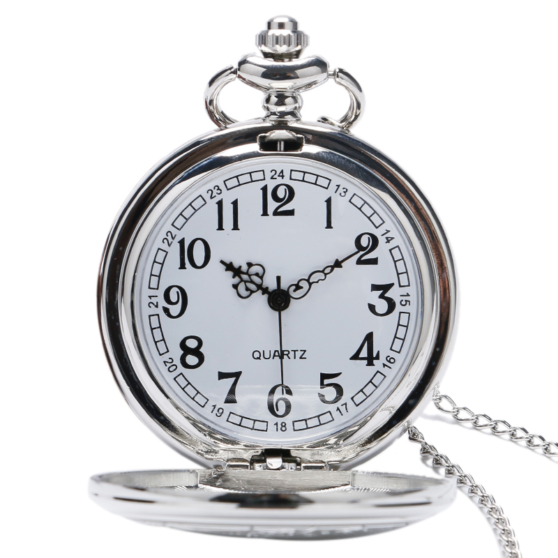 Men Women Silver Doctor Who Designer Quartz Pocket Watches With Long Necklace Chain Gift Round Clock 2