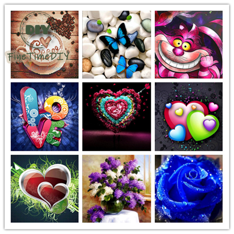 FineTime Diy Diamond Painting 5d Diamond Embroidery Heart Shaped Letter Pattern Rhinestone Mosaic Shaped Butterfly and Rose in Diamond Painting Cross Stitch from Home Garden
