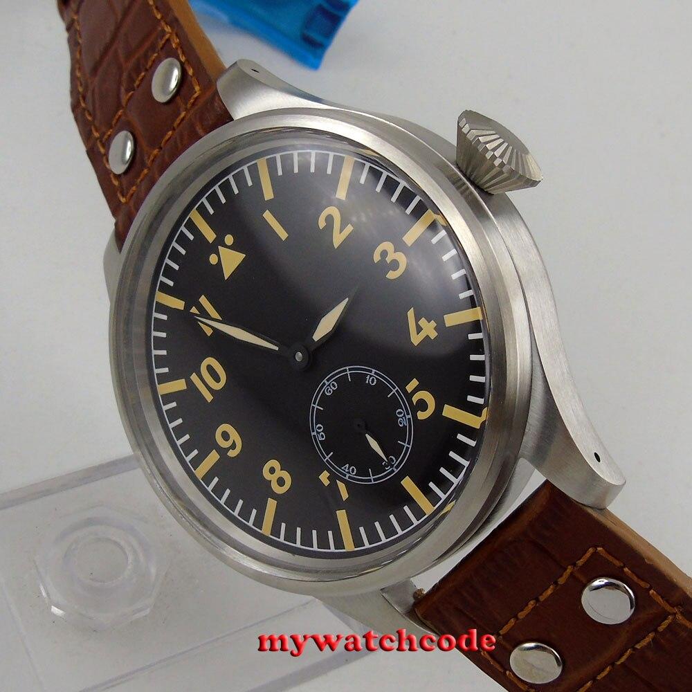 55 мм Парнис черный циферблат кожаный ремешок развертывания застежка 6498 рука обмотки Мужские часы