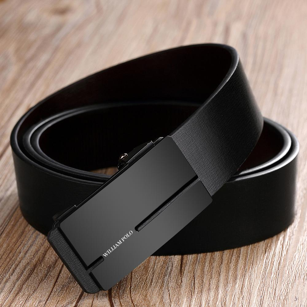 WILLIAMPOLO New Mens Belt Luxury Brand  Male Genuine Leather Belts For Men High Quality Automatic Buckles Designer Belt Hot Sale