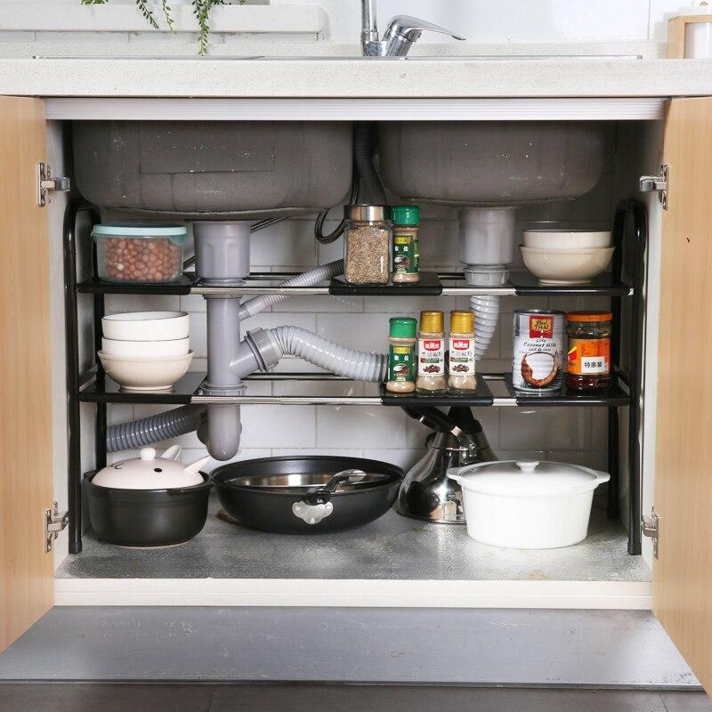 Stainless Steel Sink Shelf Floor Landing Rack Kitchen Multilayer Telescopic Storage Rack Pot Rack