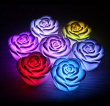 Hot 7 Colors Changing Auto Flameless Romantic Rose Shaped LED Xmas Wedding Party(China)