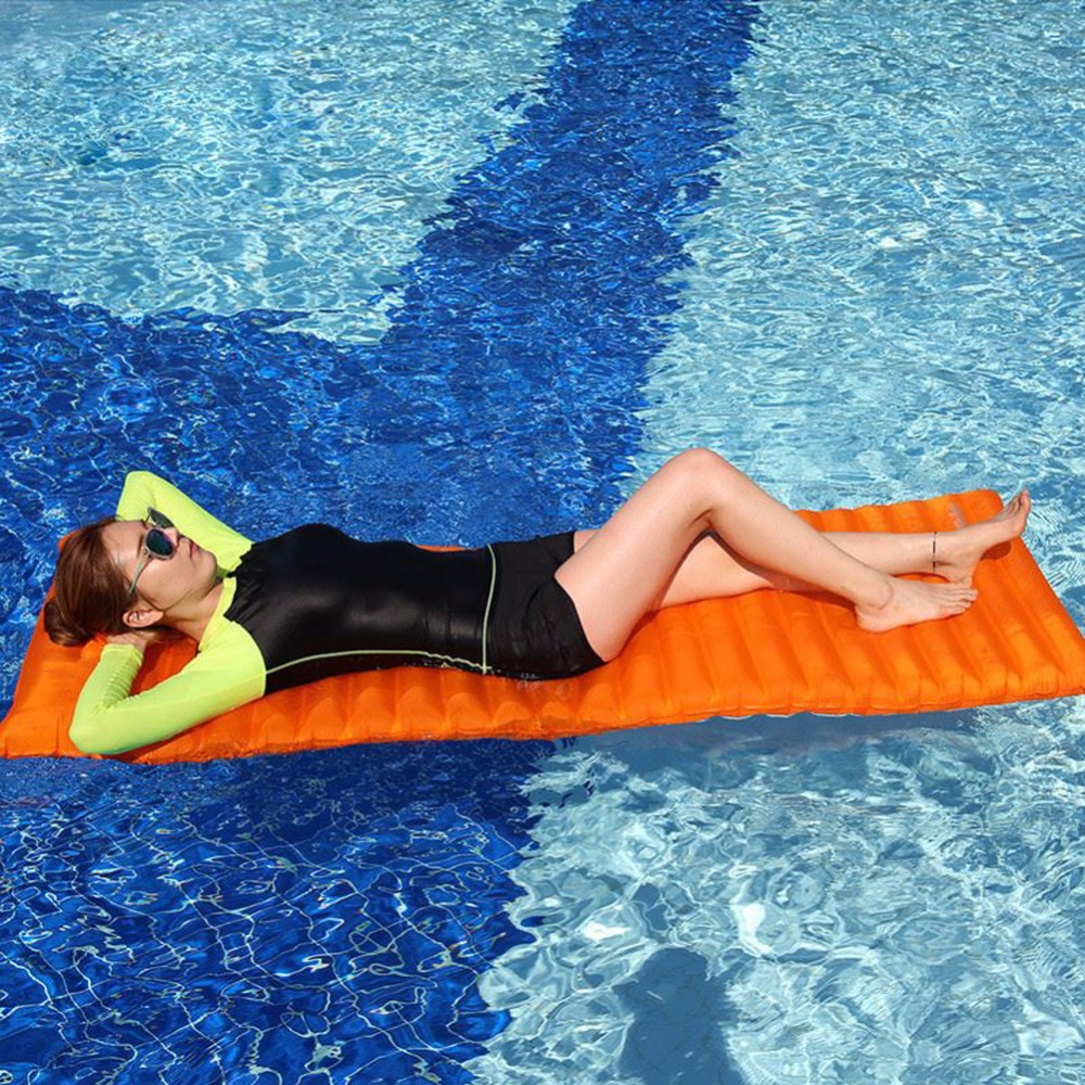 Ultralight Outdoor Air Mattress Inflatable Swimming Pool Floating Air Mat TPU Film Camping Tent Picnic Mat Sleeping Bed Pad leadingstar pvc swimming pool floating mat cherry water inflatable ring 180x180cm environmental protection pvc material zk35