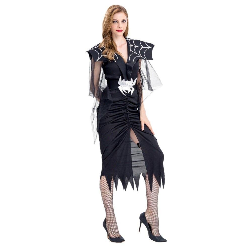 halloween spider costume adult women queen black dress halloween