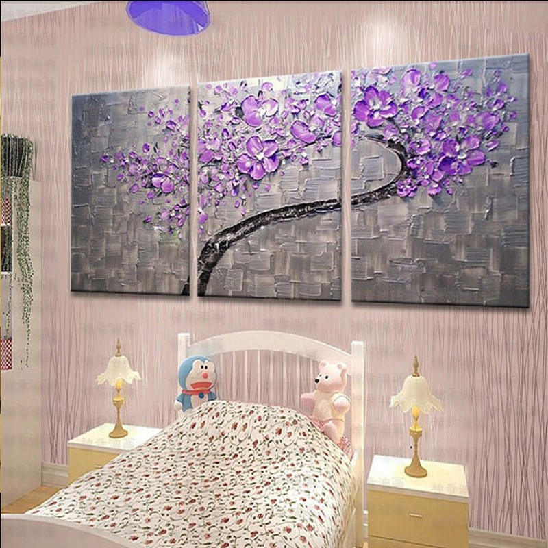 3 Panels Large Oil Painting Artist Supply Hand Painted Purple Flower Tree Knife Painting Gift  2