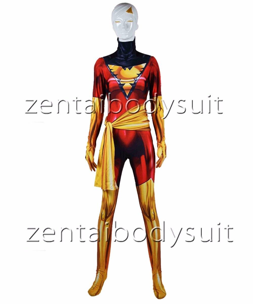 Dark Phoenix Cosplay costume X-Men Phoenix Superhero Bodysuit 3D Printting Lycra Spandex Zentai  Halloween Party suit