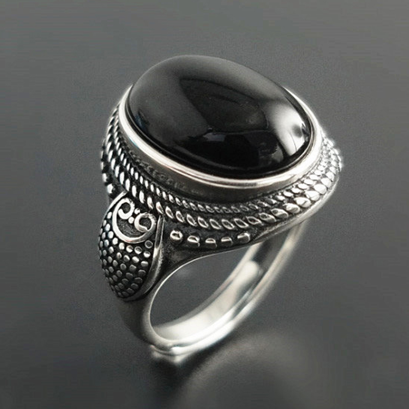 Real Pure 925 Sterling Silver Natural Black Onyx Stone Rings For Women Vintage Style Thai Silver Resizable Open Type недорого