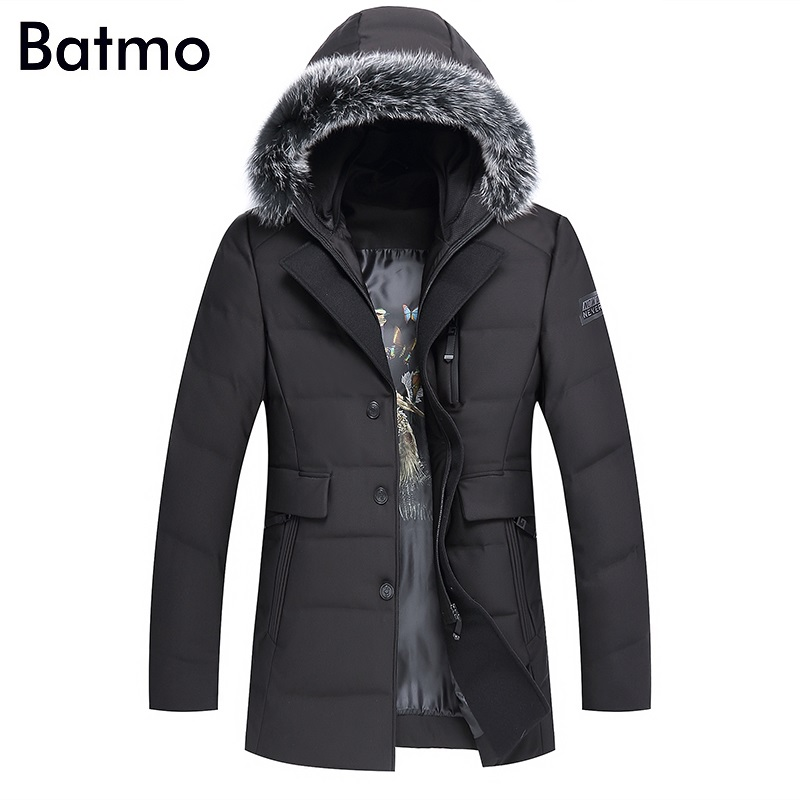 Batmo 2017 new arrival winter high quality 90% white duck down fox fur collar hooded jacket men,winter mens coat 1876