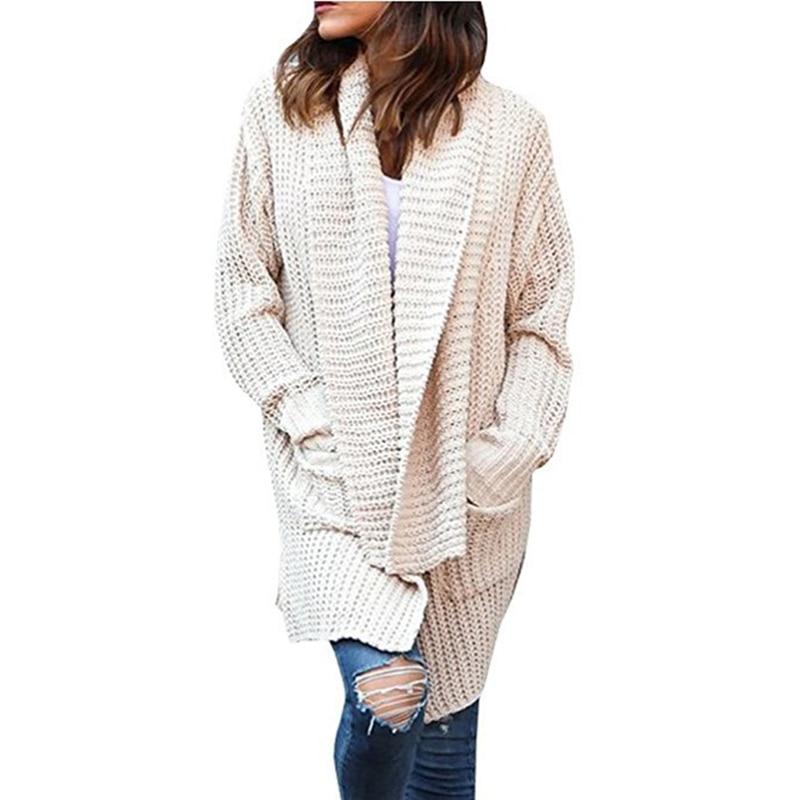 Beige Cardigan Womens Long Cardigan Sweaters Winter Scarf