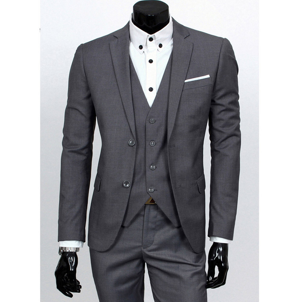 Sensfun Man Suit Blazers Casual Business Coat One Button Groomsman's Wedding Prom Suit Jacket+Vest+Pants 3 Piece Suits Set