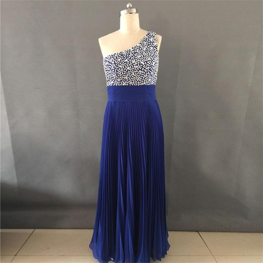 Real Sample Formal Long Evening font b Dresses b font Elegant One Shoulder Beaded Royal Blue
