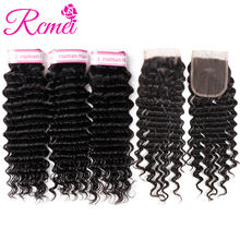 Rcmei Brazilian Deep Wave Bundles With Closure Remy Deep Wave Human Hair Weave 3 Bundles With Lace Closure Deep Curly Extensions(China)