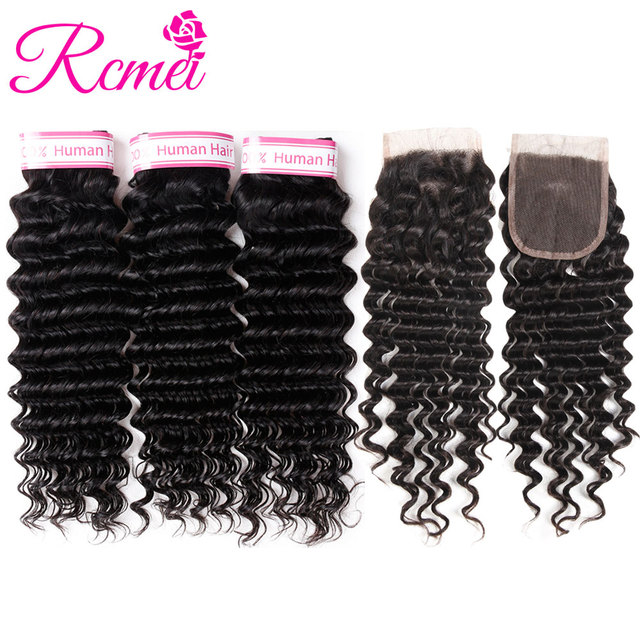 Rcmei Brazilian Deep Wave Bundles With Closure Remy Deep Wave Human Hair Weave 3 Bundles With Lace Closure Deep Curly Extensions