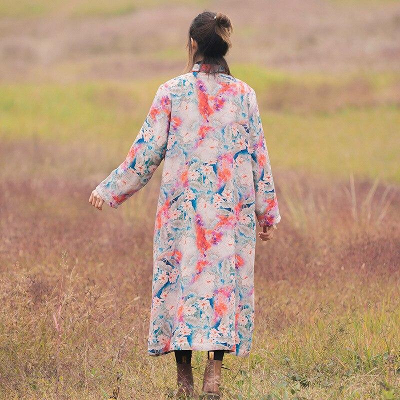 Velours Imprimer Plaque Section Rose Bouton Femmes Veste Vent Hiver De Coton Longue National Linge Plus Nouvelles vRwIY