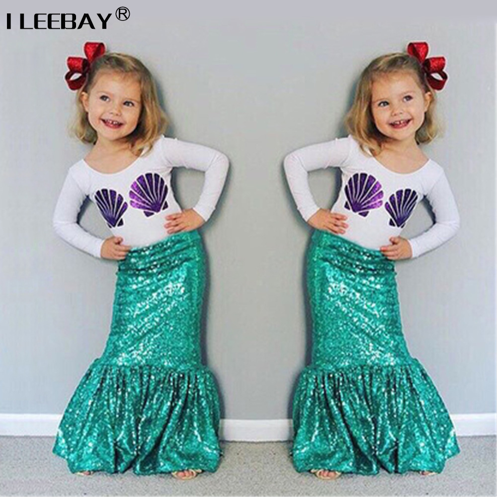 Hot Sale European and American Style Baby Girls Shell Clothing Set Kids Girl Mermaid Princess Costume Children Lovely Clothes new next fall girls graffiti sets european and american style printing zipper cardigan cartoon princess hot sale children s sets