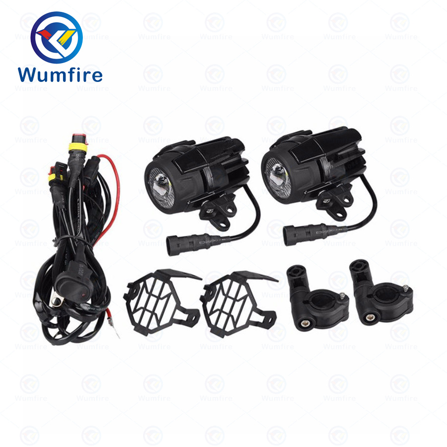 WUMFIRE Motorcycle LED Fog Light Safety Driving Lamp with Motobike Accessories Guards&Wiring Harness For BMW Waterfowl R1200GS